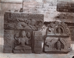 Statues in the court of the temple at Damdama, Hazaribagh District.